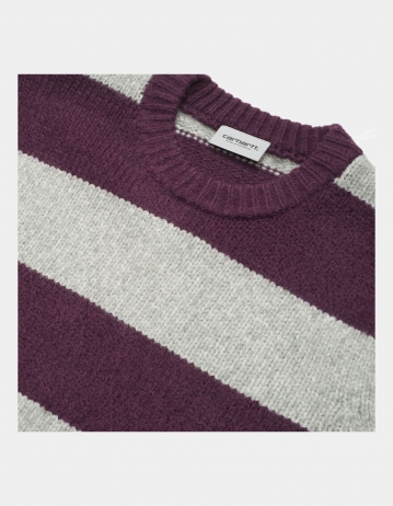 Carhartt Wip Alvin Sweater Alvin Stripe, Boysenberry / Grey Heather. - Product Photo 2