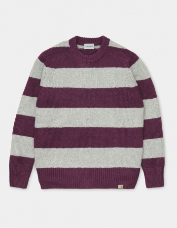 Carhartt Wip Alvin Sweater Alvin Stripe, Boysenberry / Grey Heather. - Product Photo 1
