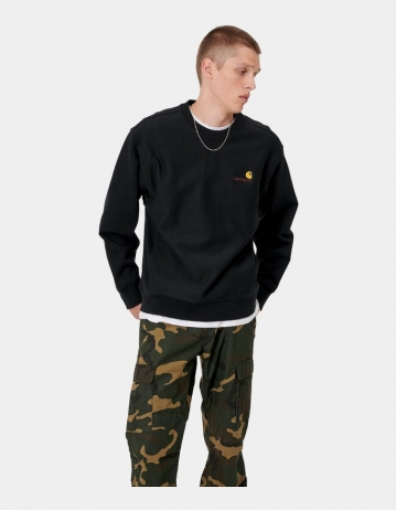 Carhartt Wip American Script Sweatshirt Black. - Product Photo 1