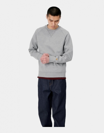 Carhartt Wip Chase Sweatshirt Grey Heather / Gold. - Product Photo 1