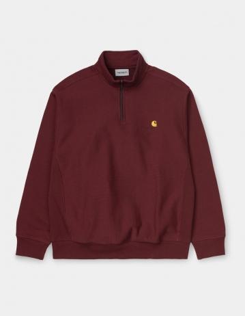 Carhartt Wip Half Zip American Script Sweatshirt Bordeaux. - Product Photo 2