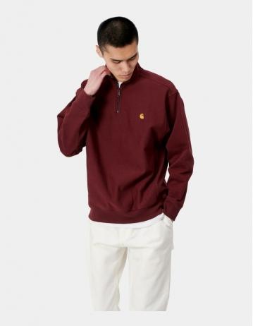 Carhartt Wip Half Zip American Script Sweatshirt Bordeaux. - Product Photo 1