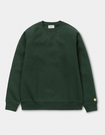 Carhartt Wip Chase Sweatshirt Dark Teal / Gold. - Product Photo 2