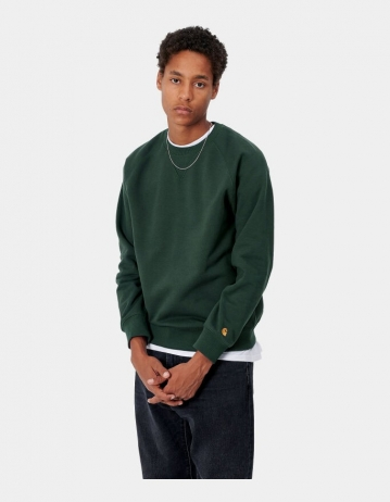 Carhartt Wip Chase Sweatshirt Dark Teal / Gold. - Product Photo 1