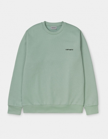 Carhartt Wip Script Embroidery Sweatshirt Frosted Green / Black. - Product Photo 2