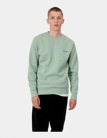 Carhartt Wip Script Embroidery Sweatshirt Frosted Green / Black. - Product Photo 1