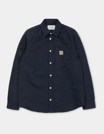 Carhartt Wip L/S Tony Shirt Dark Navy Rigid. - Product Photo 2