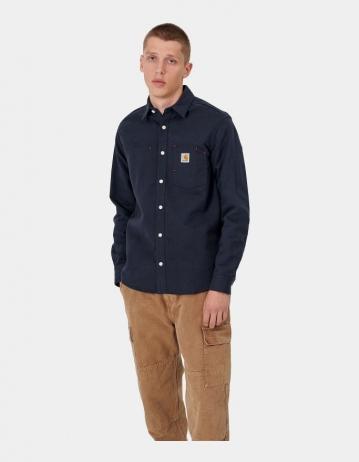 Carhartt Wip L/S Tony Shirt Dark Navy Rigid. - Product Photo 1