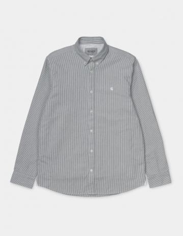 Carhartt Wip L/S Duffield Shirt Duffield Stripe, Black / White. - Product Photo 2