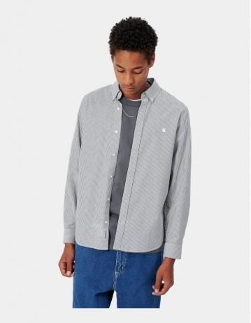 Carhartt Wip L/S Duffield Shirt Duffield Stripe, Black / White. - Product Photo 1