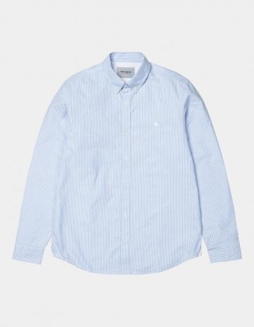 Carhartt Wip L/S Duffield Shirt Duffield Stripe, Bleach / White. - Product Photo 2