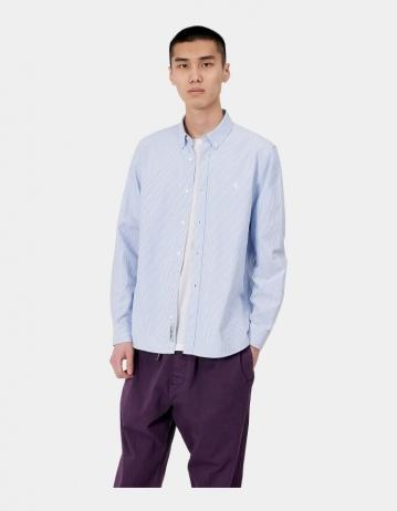 Carhartt Wip L/S Duffield Shirt Duffield Stripe, Bleach / White. - Product Photo 1