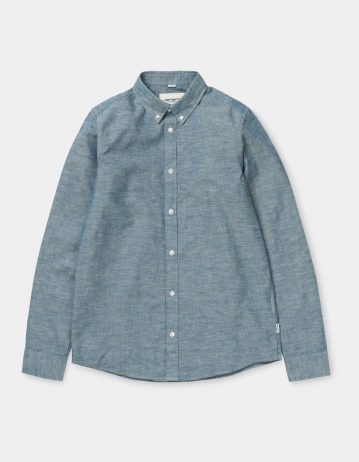 Carhartt Wip L/S Kyoto Shirt Blue Stone Washed. - Product Photo 2