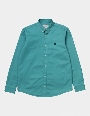 Carhartt Wip L/S Madison Shirt Frosted Turquoise / Black. - Product Photo 1
