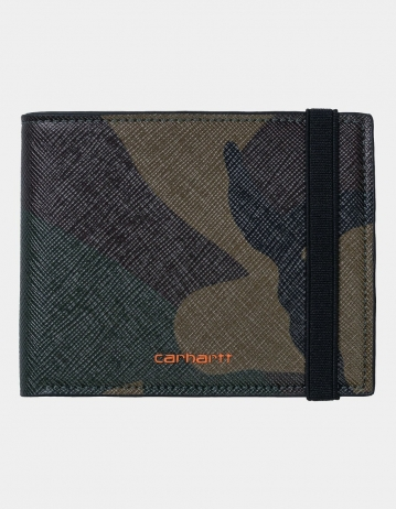 Carhartt Wip Coated Billfold Wallet Camo Laurel / Orange. - Product Photo 1