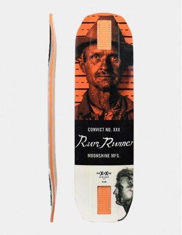 Moonshine Rum Runner White/Orange Longboard Deck. - Product Photo 1