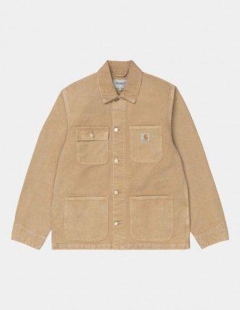 Carhartt WIP Michigan Coat Dusty H Brown / Dusty H Brown worn canvas. - Man Jacket - Miniature Photo 1