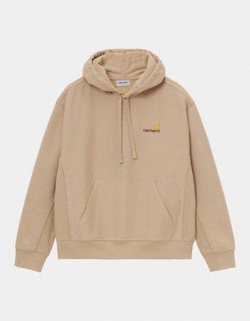 Carhartt Wip Hooded American Script Sweatshirt Dusty H Brown. - Product Photo 1