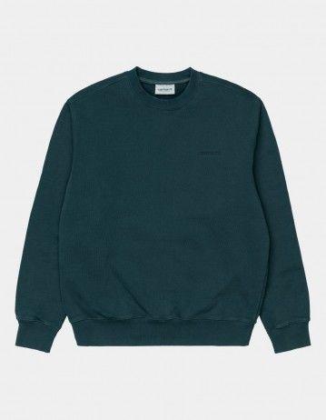 Carhartt Wip Mosby Script Sweatshirt Deep Lagoon. - Product Photo 1
