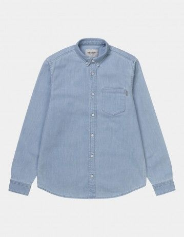 Carhartt Wip L/S Civil Shirt Blue Bleached. - Product Photo 1
