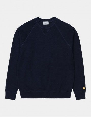 Carhartt Chase Sweater Dark Navy / Gold - Product Photo 1