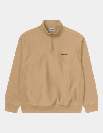Carhartt Wip Half Zip American Script Sweatshirt Dusty H Brown. - Product Photo 1