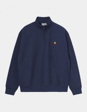 Carhartt Wip Half Zip American Script Sweatshirt Space. - Product Photo 1