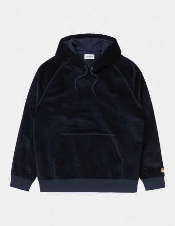 Carhartt Wip Hooded Cord Sweatshirt Dark Navy / Gold. - Product Photo 1