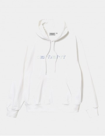 Carhartt Wip Hooded Shadow Script Sweatshirt White. - Product Photo 1