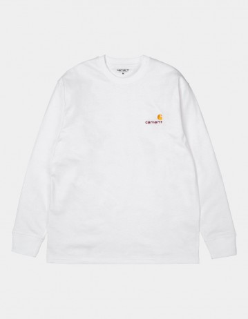 Carhartt Wip L/S American Script T-Shirt White. - Product Photo 1