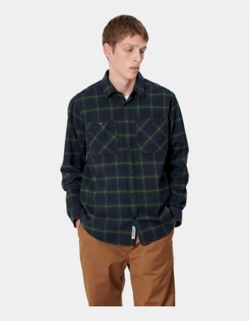 Carhartt Wip L/S Darren Shirt Darren Check, Bottle Green. - Product Photo 1