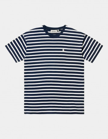 Carhartt Wip W S/S Robie T-Shirt Robie Stripe, Dark Navy / White. - Product Photo 1