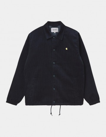 Carhartt Wip Corduroy Coach Jacket Dark Navy / Limoncello. - Product Photo 1