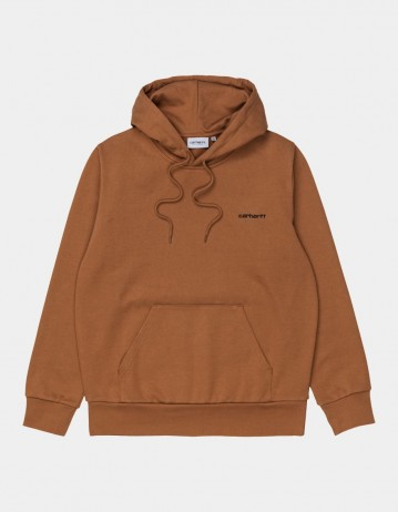 Carhartt Wip Hooded Script Embroidery Sweatshirt Rum / Black. - Product Photo 1