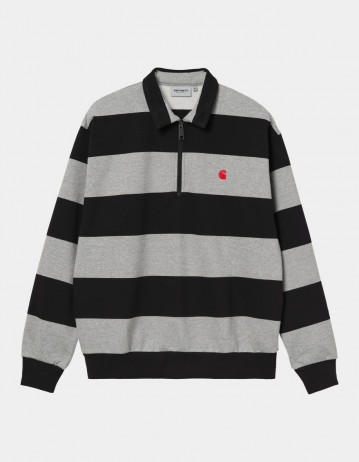 Carhartt Wip Half Zip Alvin Sweatshirt Alvin Stripe, Black / Grey Heather / Etna Red. - Product Photo 1
