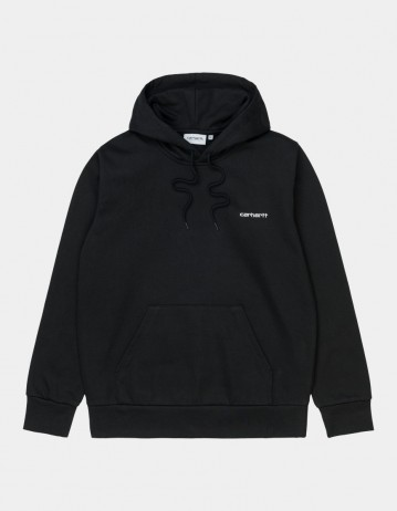 Carhartt Wip Hooded Script Embroidery Sweatshirt Black / White. - Product Photo 1