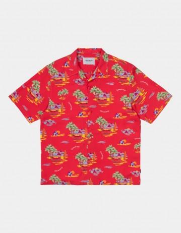 Carhartt Wip S/S Beach Shirt Beach Print, Etna Red. - Product Photo 1