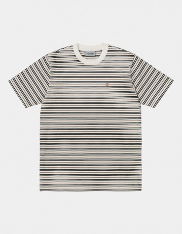 Carhartt Wip S/S Akron T-Shirt Akron Stripe, Wax. - Product Photo 1