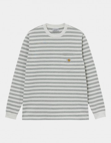Carhartt Wip L/S Scotty Pocket T-Shirt Scotty Stripe, White Heather / Grey Heather. - Product Photo 1