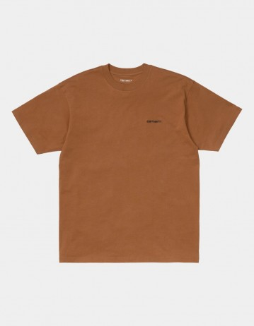 Carhartt Wip S/S Script Embroidery T-Shirt Rum / Black. - Product Photo 1
