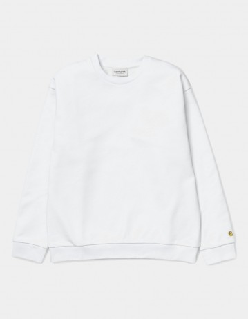 Carhartt Wip W Chase Sweatshirt White / Gold. - Product Photo 1