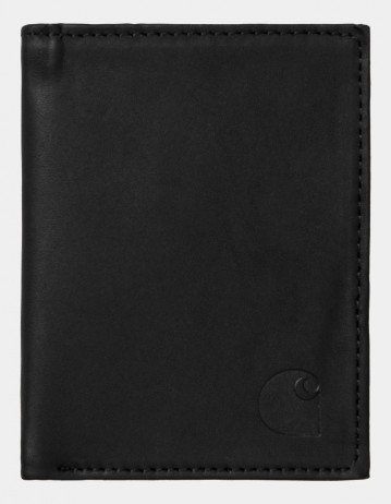 Carhartt Wip Leather Fold Wallet Black. - Product Photo 1