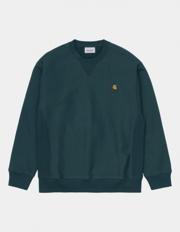 Carhartt Wip American Script Sweatshirt Deep Lagoon. - Product Photo 1