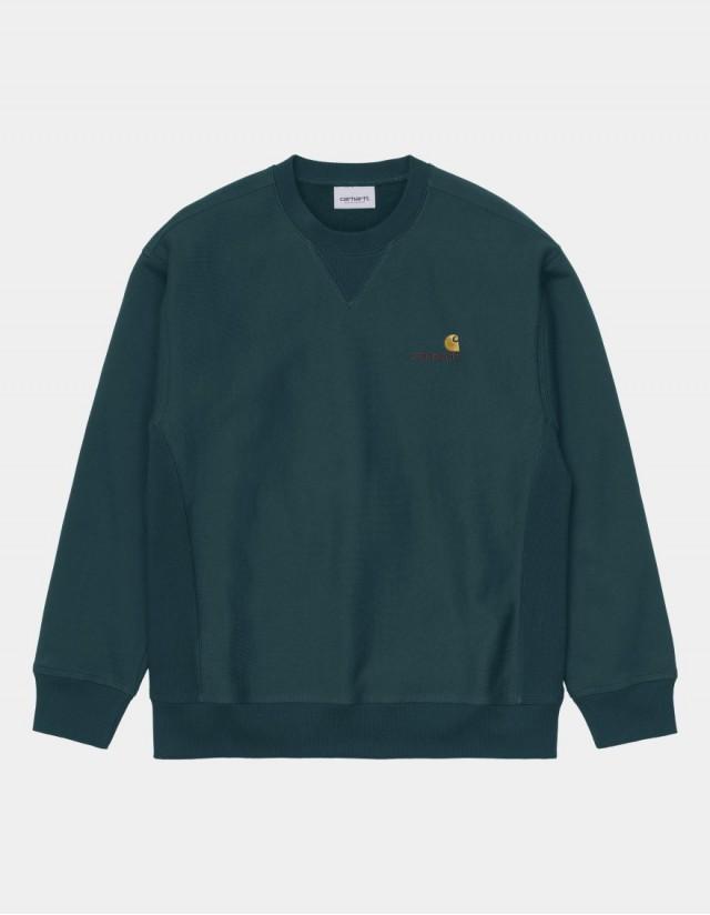 Carhartt Wip American Script Sweatshirt Deep Lagoon. - Men's Sweatshirt  - Cover Photo 1