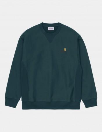 Carhartt WIP American Script Sweatshirt Deep Lagoon. - Men's Sweatshirt - Miniature Photo 1