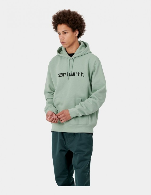 Carhartt Wip Hooded Carhartt Sweatshirt Frosted Green / Black. - Men's Sweatshirt  - Cover Photo 1