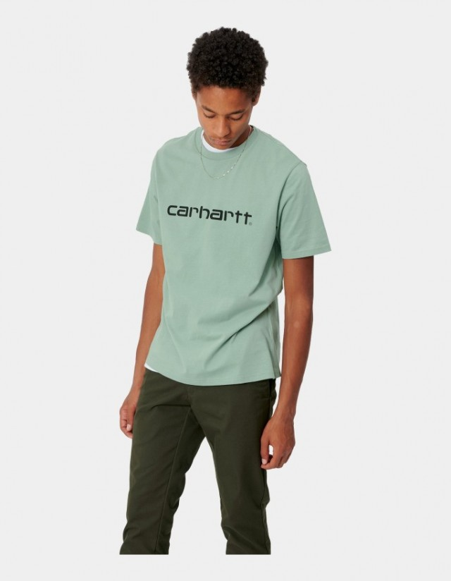 Carhartt Wip S/S Script T-Shirt Frosted Green / Black. - Men's T-Shirt  - Cover Photo 1