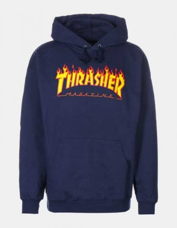 Thrasher Flame Hooded Sweat Navy - Product Photo 1