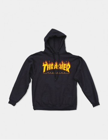 Thrasher Flame Hooded Sweat Black - Product Photo 1