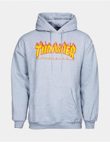 Thrasher Flame Hooded Sweat Grey - Product Photo 1
